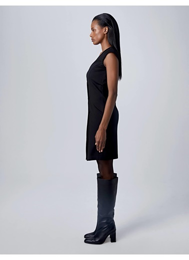 Huxel WLD004193 Wrap Kolsuz Elbise Siyah